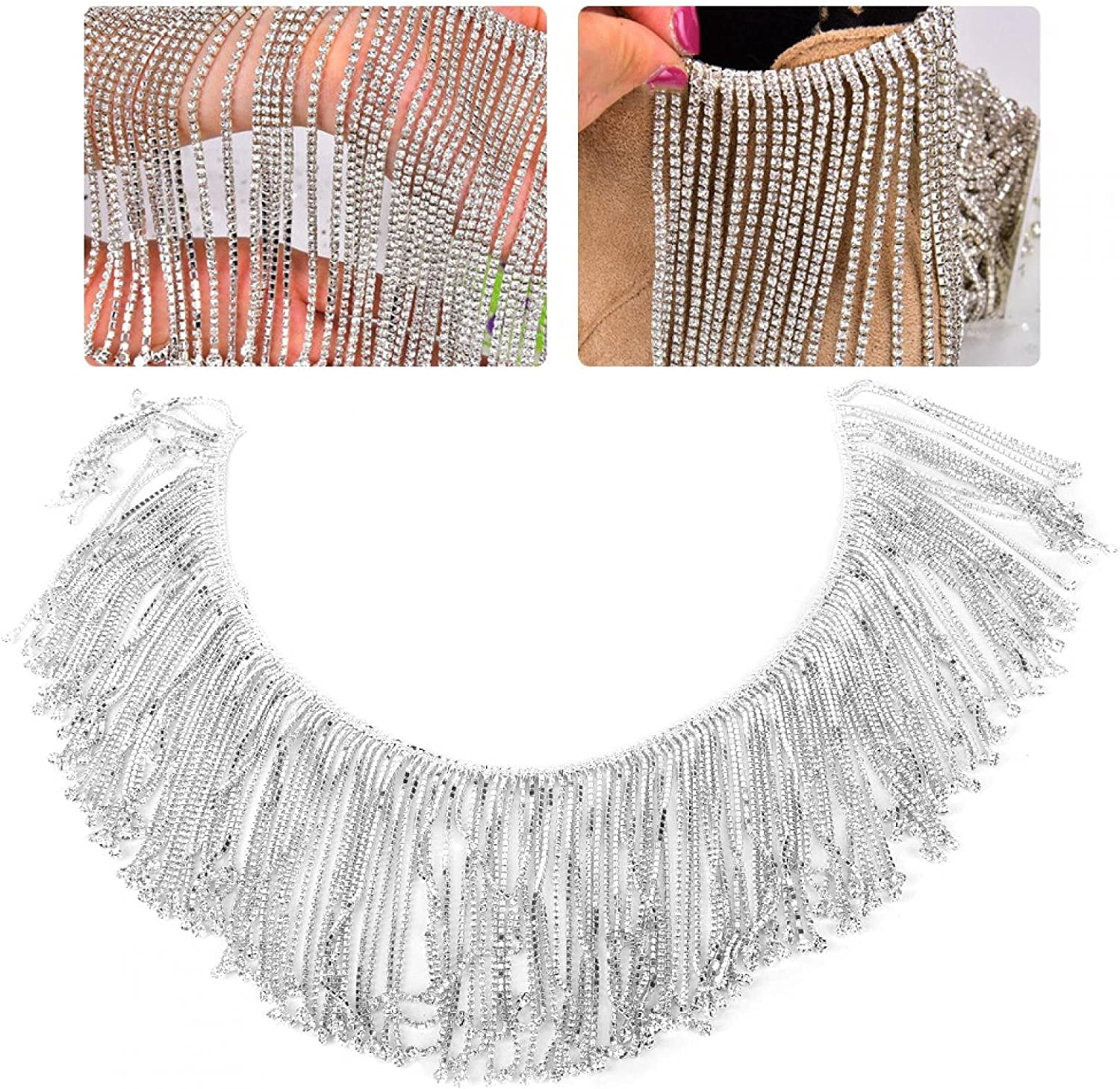 Super Special SALE Max 72% OFF held Crystal Glass Transparency Rhinestones Sew Chain Tassel