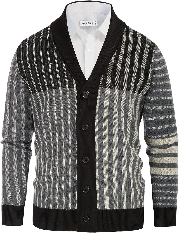 GRACE Direct sale of manufacturer New Shipping Free KARIN Men Vintage Stripes Shawl Cardigan Collar Sweater Bu