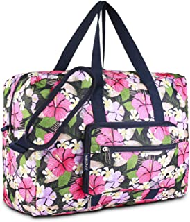 Foldable Duffel Bag for Travel Luggage Flight Lady Girls Cute Carry On Weekend Tote Bag(Pink Flower)