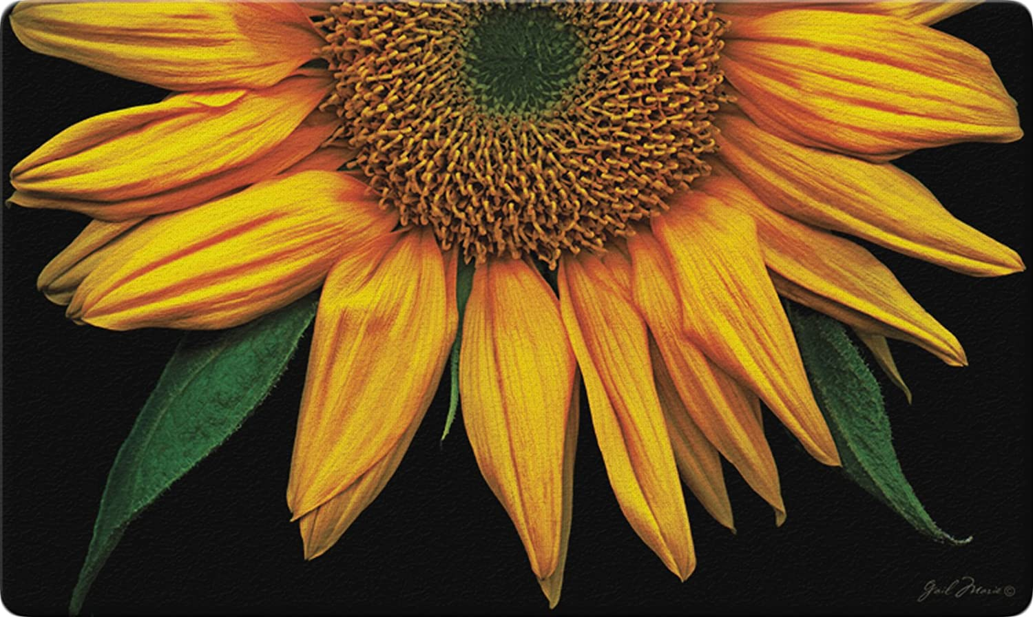 "Toland Home Garden 830037 Sunflowers On Black 18"" x 30"" Recycled Mat, USA Produced"