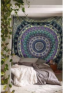 Handicrunch Hippie Elephant Mandala Tapestry India Wall Hanging, Twin Size Bedspread Bedding, Boho Dorm Décor