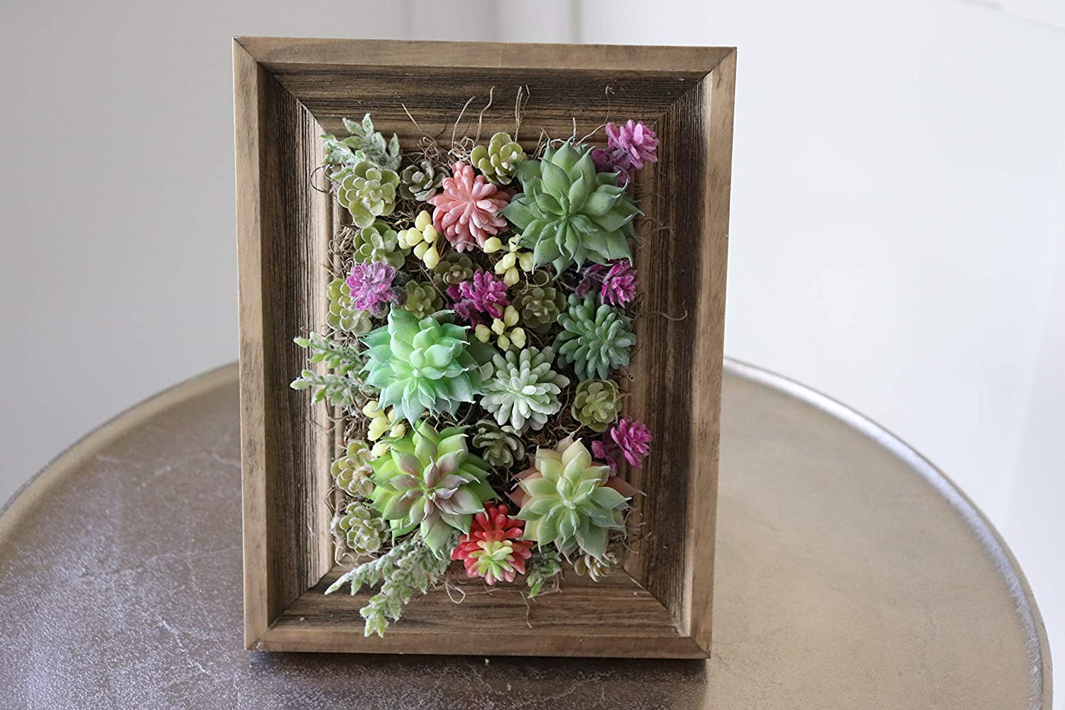 2021 spring and summer new Wooden framed floral arrangement with a succulent fake greenery Dedication
