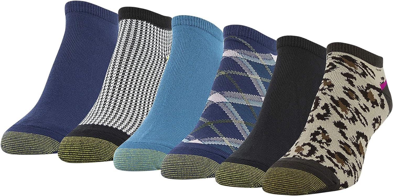 Gold Toe Women's Liner Socks, 6 Pairs, Chocolate, Black, Peacoat