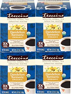 Teeccino Dandelion Tea – Turmeric – Rich & Roasted Super Herb Tea with Dandelion, Turmeric, Licorice & Ginger Roots for De...