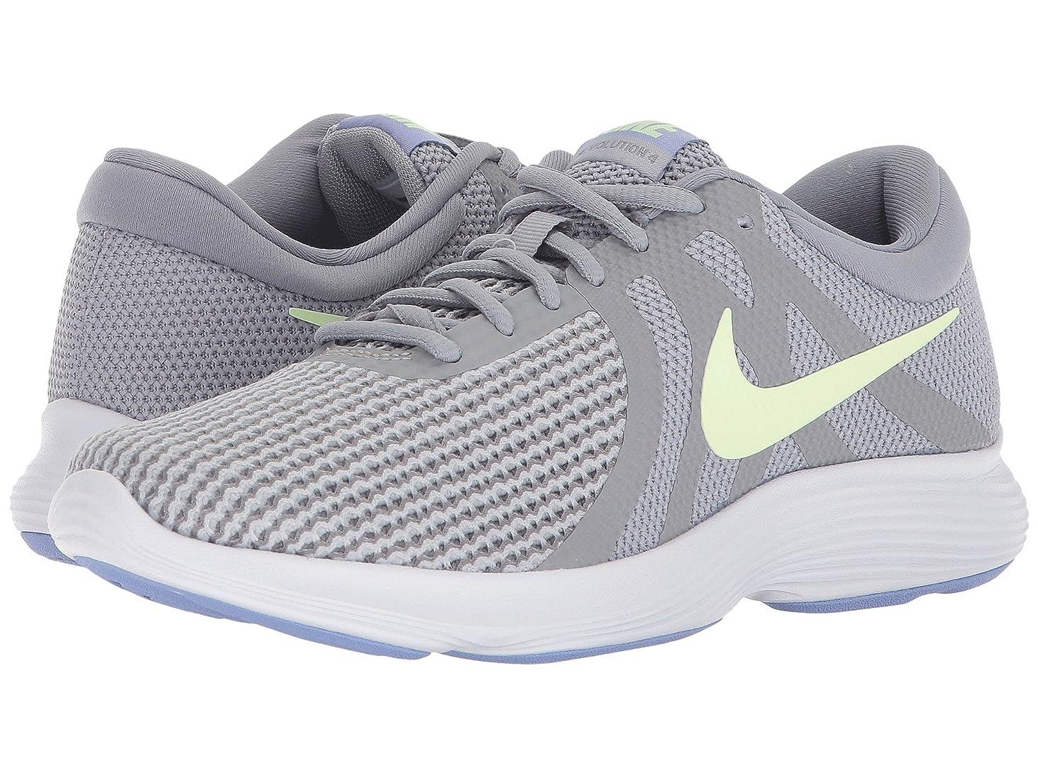底漂流冒険家(ナイキ) NIKE レディースランニングシューズ?スニーカー?靴 Revolution 4 Wolf Grey/Barely Volt/Stealth 7 (24cm) B - Medium
