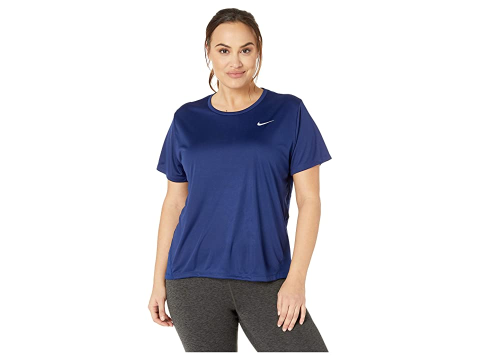 Nike Dry Miler Top Short Sleeve (Size 1X-3X) (Blue Void/Reflective Silver) Women