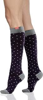 VIM&VIGR Women's Cotton 15-20 mmHg Compression Socks Dots Collection (M/L, Petite Dot Eggplant & Grey)