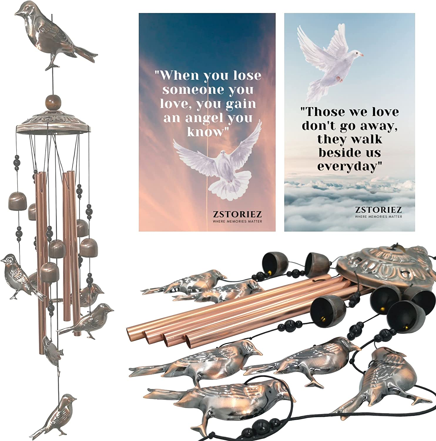 Sympathy Wind Chimes, Memorial Wind Chimes for Loss of Loved One Prime, Windchimes Cardinals Sympathy Gifts in Memory of Loss of Father, Mother, Funeral Bereavement Grief Chimes