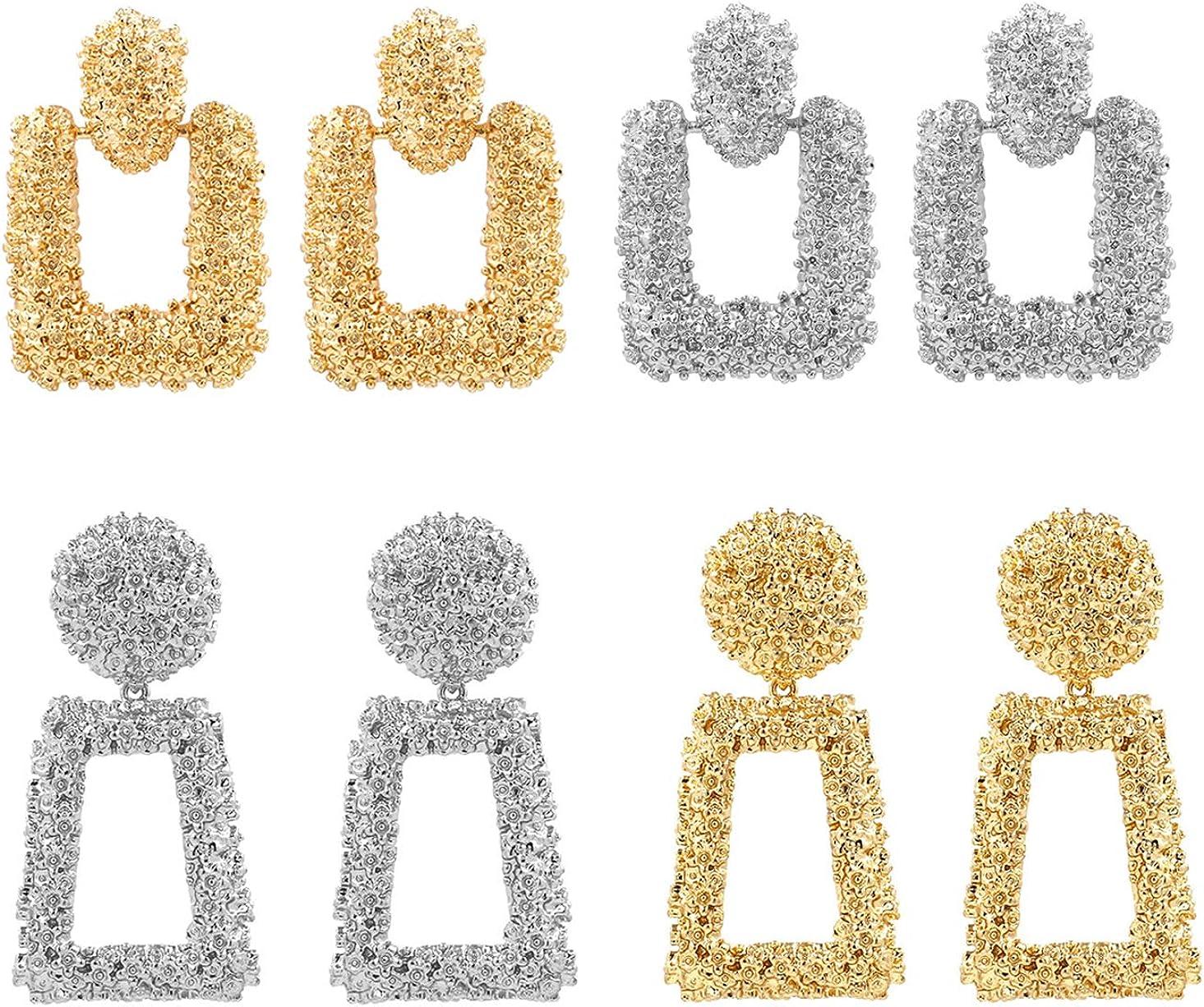 ATIMIGO Statement Drop Earrings Large Metal Geometric Gold Dangle Drop Earrings for Women Girls