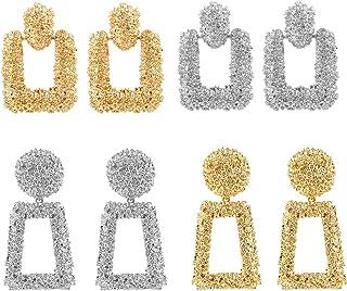 ATIMIGO Statement Drop Earrings Large Metal Geometric Dangle Earrings Silver/Gold for Women Girls