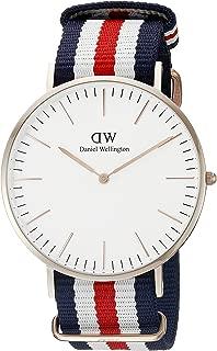 Daniel Wellington Men's 0102DW Analog Quartz Canterbury Round Striped Band Watch
