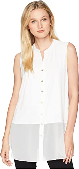 Sleeveless Button Up w/ Chiffon