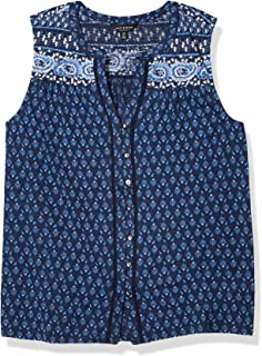 Lucky Brand Women's Sleeveless V Neck Button Up Border Print Top