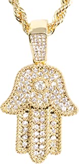 Iced Out Hand of Hamsa Gold Pendant Studded with CZ Crystals with 24 inch Gold Plated Rope Chain