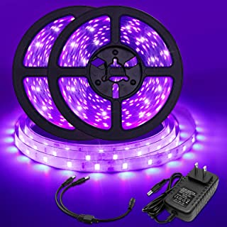 33FT/10M UV Black Light Strip, 24W Flexible Blacklight LED Strip, 3528 600 LEDs 395nm-405nm Non-Waterproof Blacklight Fixt...