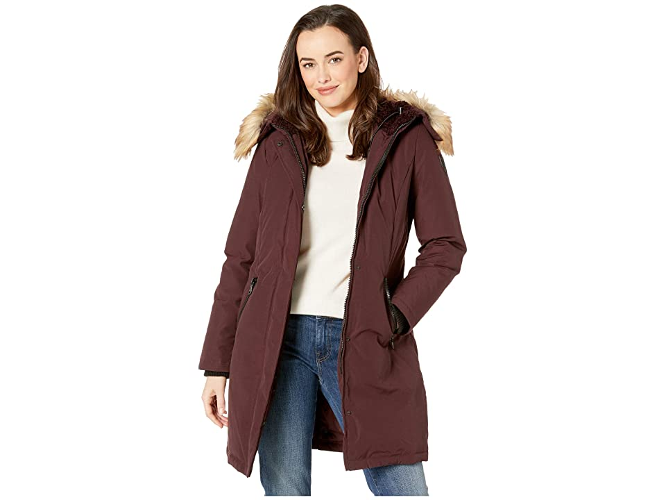 Vince Camuto Long Heavy Weight Down Coat with Sherpa Hood and Faux Fur Trim R1661 (Wine) Women's Coat, Burgundy