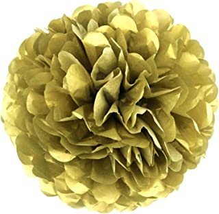 Lightingsky 10pcs Paper Tissue Pom Poms DIY Flowers Ball for Wedding Party Home Decoration (10 inch, Gold)