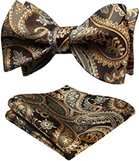 HISDERN Untied Bow Ties Men's Floral Jacquard Wedding Party Self Bowtie Pocket Square Set