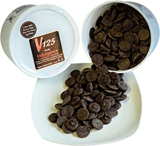 Chocoley Dark Couverture Chocolate - 5 lbs - V125 Indulgence Courverture Chocolate - 2 x 2.5 Pound Tubs of Artisan Chocolatier/ Pastry Chef Grade Couverture Chocolate - Semi Sweet Dark