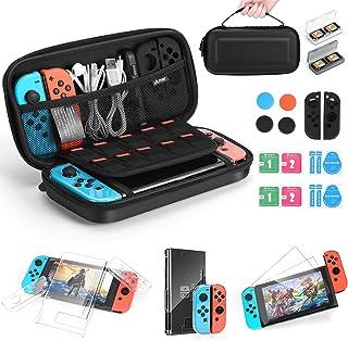 iAmer Kit 11 in 1 Accessori per Nintendo Switch,Custodia per Nintendo Switch,Cover Trasparente,2 Pellicola Vetro Temperat...