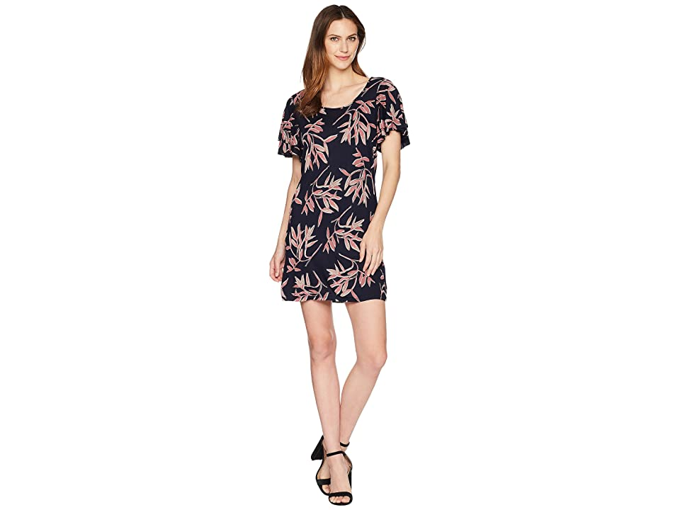 Lucky Brand Printed Ruffle Dress (Pink Multi) Women