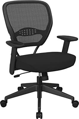 SPACE Seating 55 Series Professional Dark Air Grid Back Adjustable Manager's Chair with Lumbar Support and Padded Fun Colors Black Mesh Seat