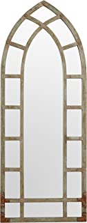 Stone & Beam Modern Arc Metal Frame Hanging Wall Mirror Decor, 46.25 Inch Height, Silver Finish