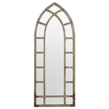 Amazon Brand – Stone & Beam Modern Arc Metal Frame Hanging Wall Mirror Decor, 46.25 Inch Height, Silver Finish