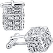 Men's Sterling Silver .925 Original Design Dice Cube Cufflinks with Round Cubic Zirconia Stones, Platinum Plated, Secure Solid Hinges, 15 mm