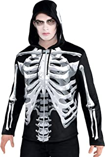 AMSCAN Black & Bone Hoodie Skeleton Halloween Costume for Men, Standard Size