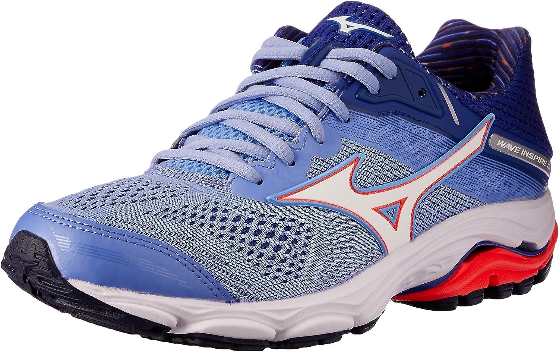 Mizuno Australia Women's Wave Inspire 15 Running shoes, Grapemist White Fiery Coral, 7.5 US