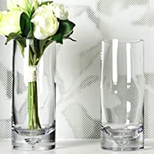 S1EGAN Cylinder Glass Vases Set of 2, Hand Blown Clear Glass with Bubble Base Design, Flower Vases for Floating Candles, D...