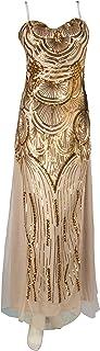 Juvale - Vestido de graduación de Oro con Lentejuelas Formales para Vestido de Noche, Brillante Cuello de corazón, Vestido Largo con alzapaños