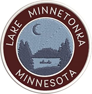 Lake Minnetonka, Minnesota Crescent Moon Boat Embroidered DIY Iron on or Sew-on Decorative Patch Badge Appliques ~ Lake Life Adventure Series