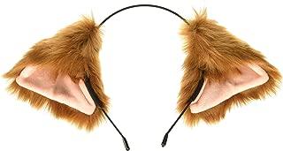Cutegirl Cat Fox Ears Long Fur Hair Headband Anime Cosplay Party Costume Brown and Champagne