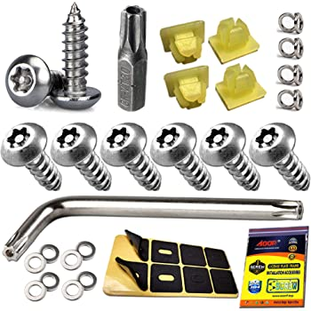 Tamper Resistant 304 Stainless Steel Plate Screws Anti Theft License Plate Screws 1//4-20 x 1 Button Head Security Machine Screw and Black License Plate Screw Cover-33 Kits Aootf