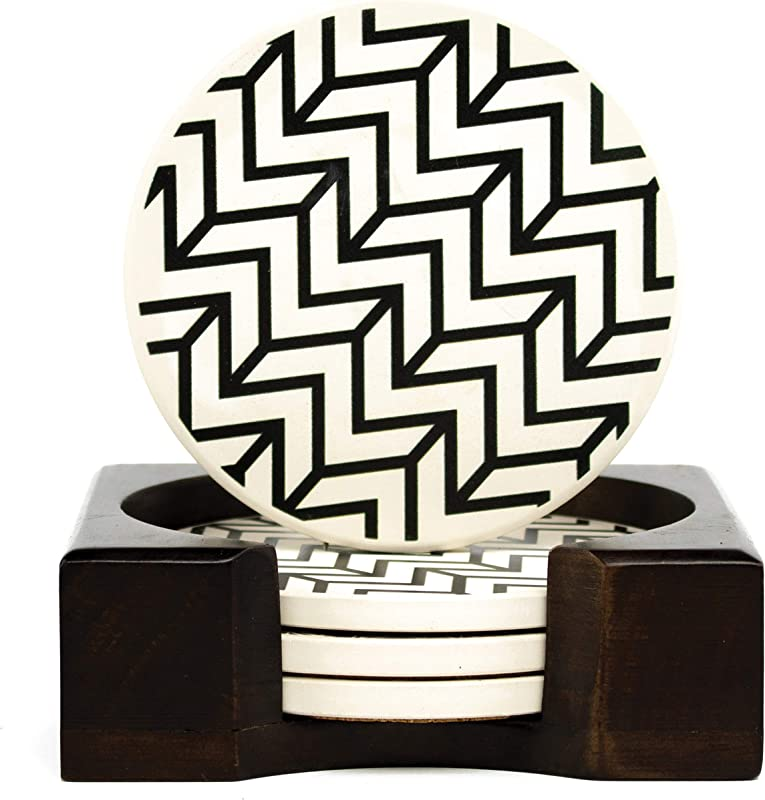 Coaster Set Of 4 With Holder Stone Drink Coasters Set Chevron Absorbent With Beautiful Wood Holder Made Of Ceramic With Cork Back Absorbs Spills