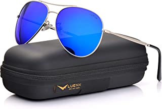 525afe95e52d LUENX Aviator Sunglasses Men Women Mirror Polarized UV400 Metal Frame 60MM  (6-Dark Blue