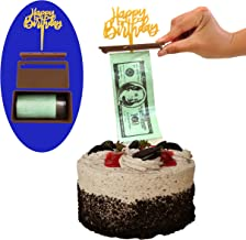 The Money Cake - Cake Money Pull Out Kit, Money Cake Dispenser Box, Complete Money Cake Set includes 2 plastic rolls (50 pockets each) and Happy Birthday Topper