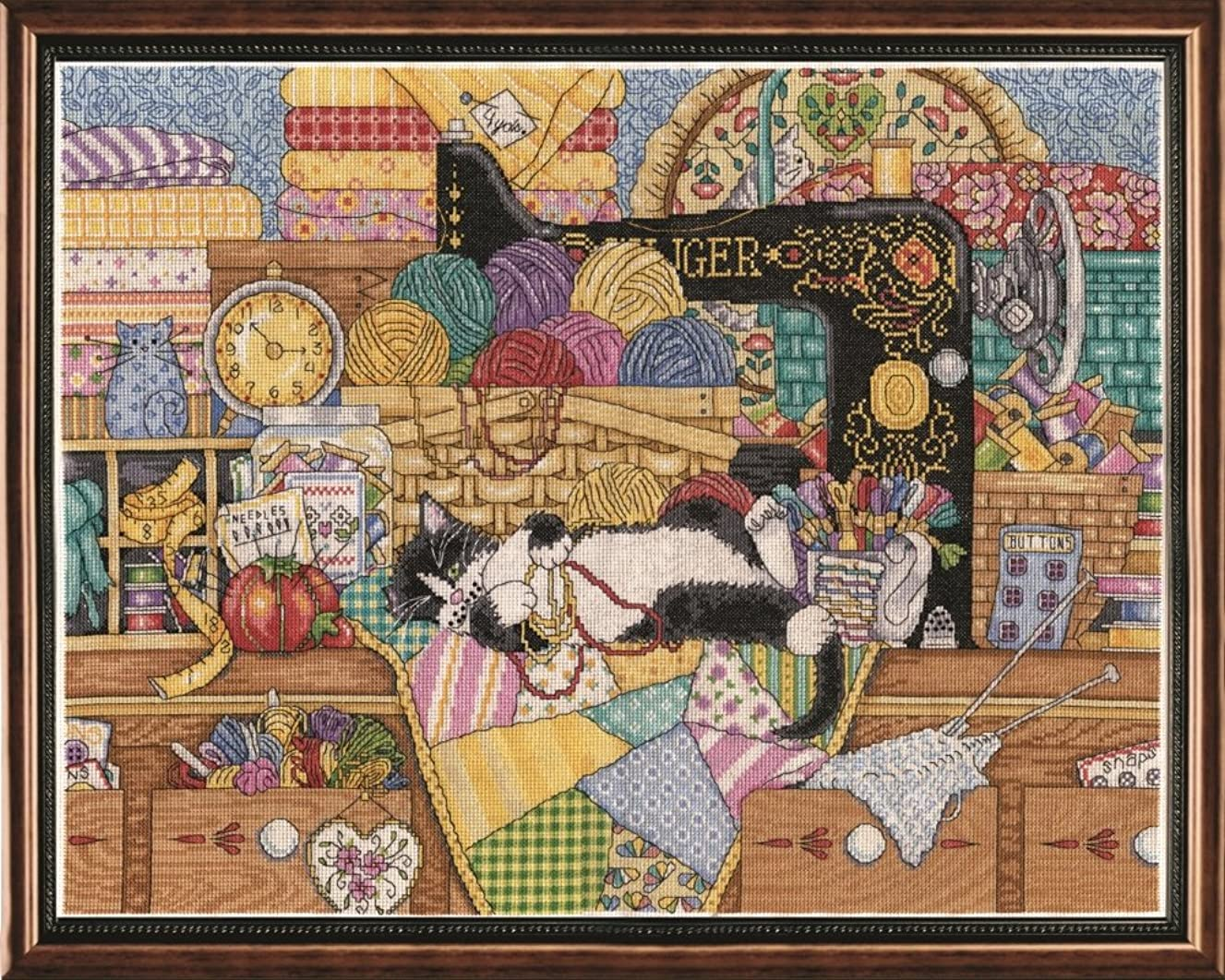 Tobin 2863 14 Count Kitty Sewing Lesson Counted Cross Stitch Kit, 16