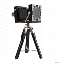 US HANDICRAFTS New Vintage Look Antique Film Camera with Wooden Tripod Stand Collectible Studio Gift Item Black Color.