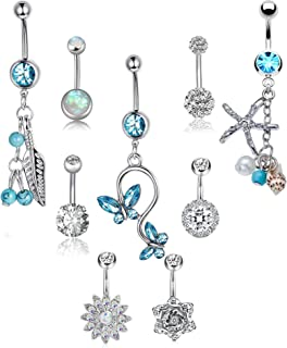 8-21 Pcs 14G Belly Button Rings for Women Girls Navel Barbell Rings Body Piercing Jewelry