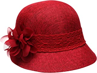 3240d9f38dc91 Epoch Women's Gatsby Linen Cloche Hat With Lace Band and Flower