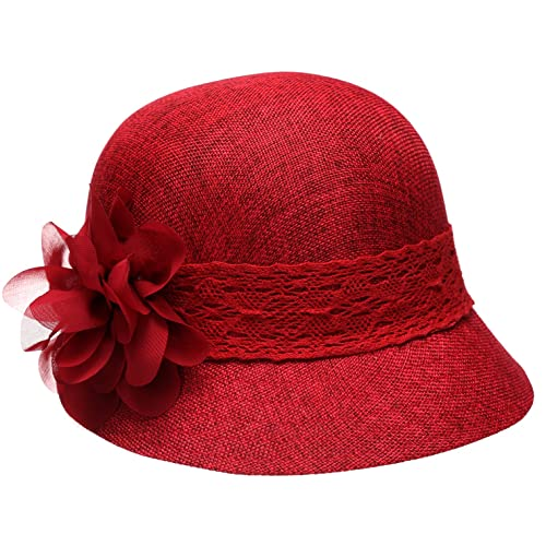 f5ef158cebd64 Epoch Women s Gatsby Linen Cloche Hat With Lace Band and Flower