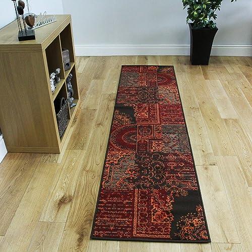 The Rug House Milan Red, Brown, Orange & Grey Traditional Runner Rugs 1572-