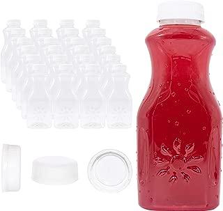 24 Pk of 16oz Juice Bottles, 16 oz Plastic Bottles with Lids and Sunshine Design, White Tamper Proof Caps