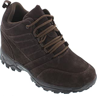 CALTO Men's Invisible Height Increasing Elevator Shoes - Dark Brown Suede Lace-up Hiking Boots - 4 Inches Taller - H0031