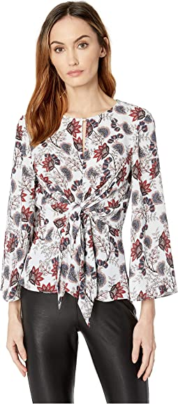Long Sleeve Printed Wrap Front Blouse
