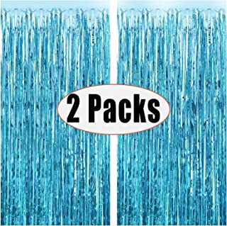 Fecedy 2pcs 3ft x 8.3ft Light Blue Metallic Tinsel Foil Fringe Curtains for Party decorations