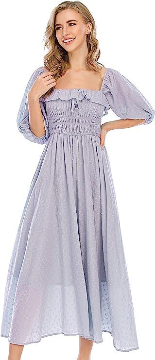 Peasant Dresses & Prairie Dresses R.Vivimos Women Summer Half Sleeve Cotton Ruffled Vintage Elegant Backless A Line Flowy Long Dresses  AT vintagedancer.com
